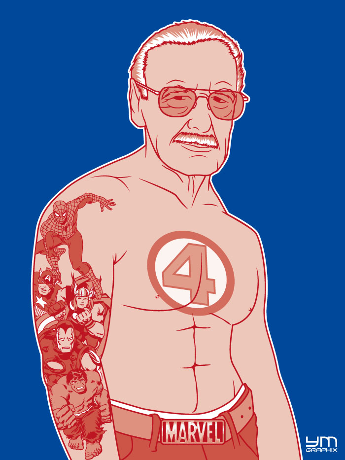 Portrait of Stan Lee with his superhero Marvel characters tattooed on the arm and chest.