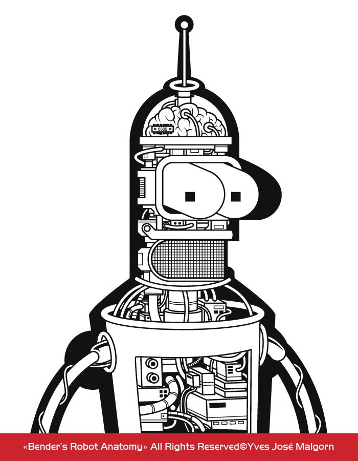 Bender Robot Anatomy_Black White